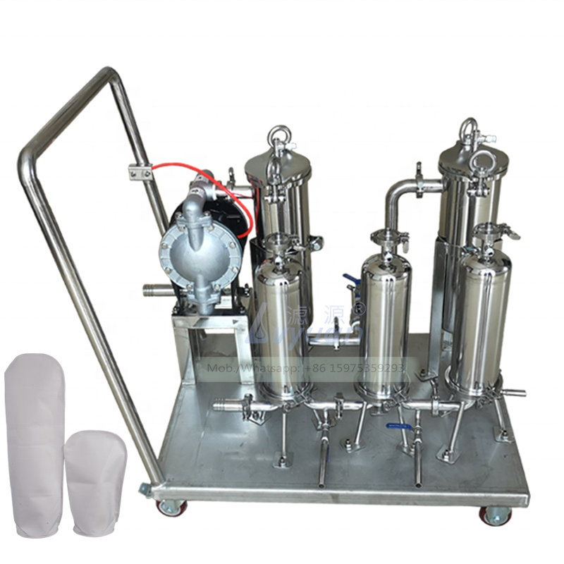 Trolley models multiple stages stainless steel 304 316L industrial bag filter machine with 50 micro bag liquid filter vessel