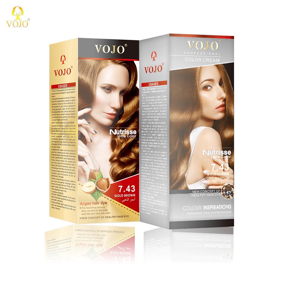OEM/ODM salon professional permanent VOJO hair colour cream ammonia free hair dye color