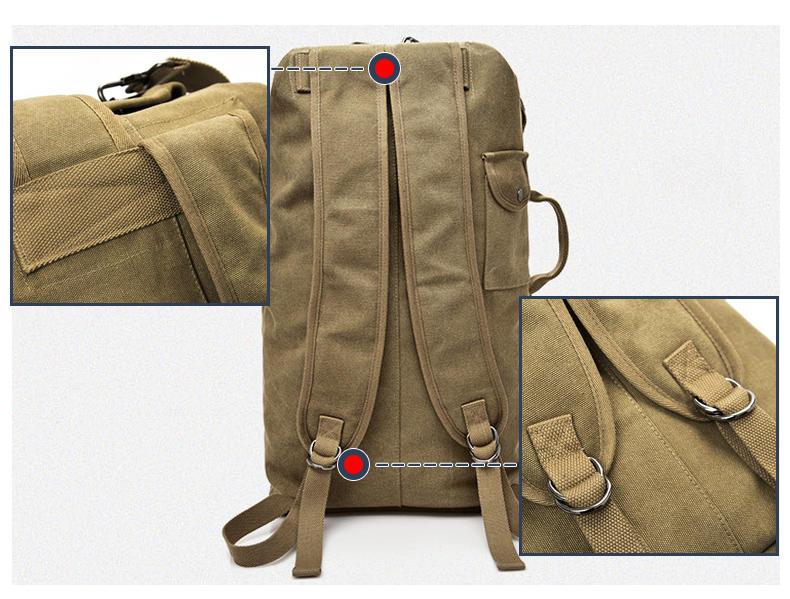 mochilas Men's Canvas Backpacks Multi-purpose Bucket Mountaineering Travel Bag Large Shoulder Bags Men Army Trip Foldable Hand Bag