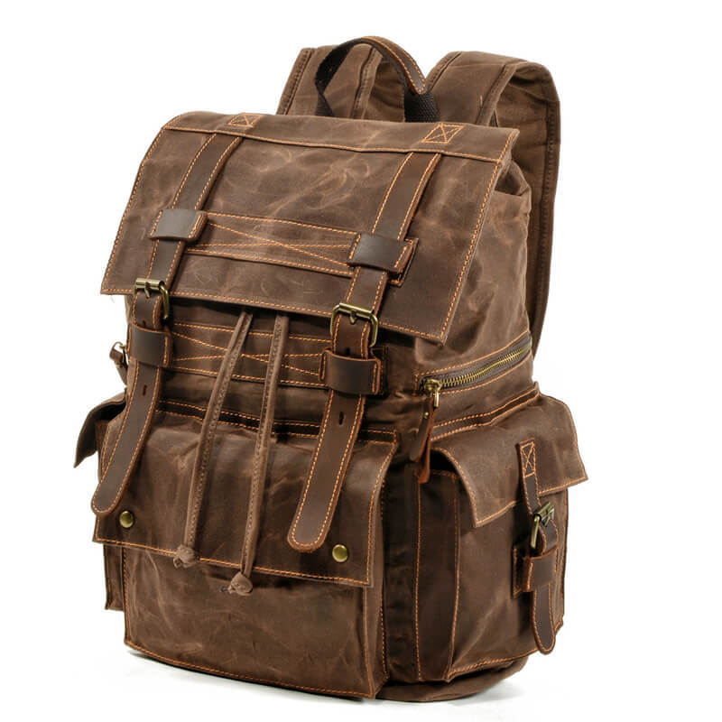 mochilas 2020 New Style Waxed Canvas Waterproof Hiking Camping Back Pack Military Tactical Mountain Bags for Men