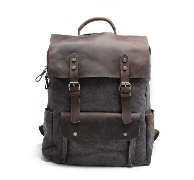 mochilas New Multi-function Fashion Men Backpack Vintage Canvas Backpack Leather School Bag Neutral Portable Travel Bag