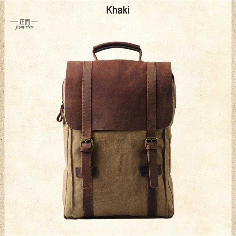 mochilas Vintage Fashion Backpack Leather military Canvas Men women school bagpack rucksack mochila girl
