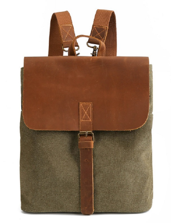 mochilas China Factory Canvas Backpack Crazy Horse Leather Backpack Computer Backpack