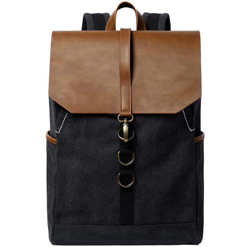 mochilas Vintage Fashion Backpack Leather military Canvas backpack Men travel women school bag pack rucksack mochila leisure