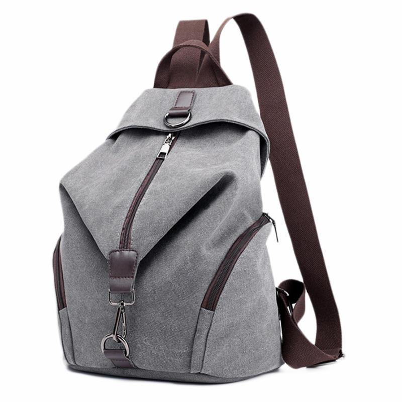 mochilas Canvas Backpack School Bag Casual College Travel Purse Shoulder Bag For Men Women (Grey)