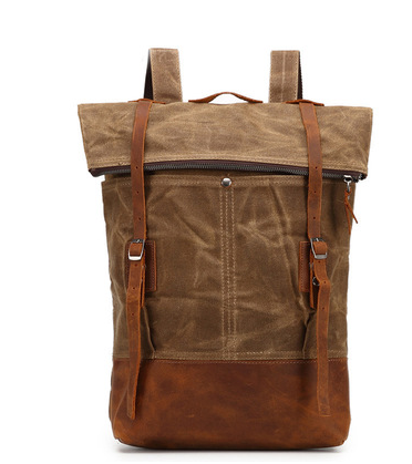 mochilas Unique waterproof canvas backpack men casual backpack travel leather bag