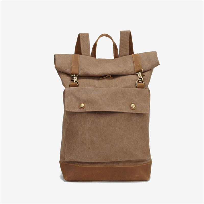 mochilas New Large Rucksack Man Travel Bag Laptop Backpack Women Leisure Canvas Leather Shoulder Bags Roll Cover Men's Backpacks
