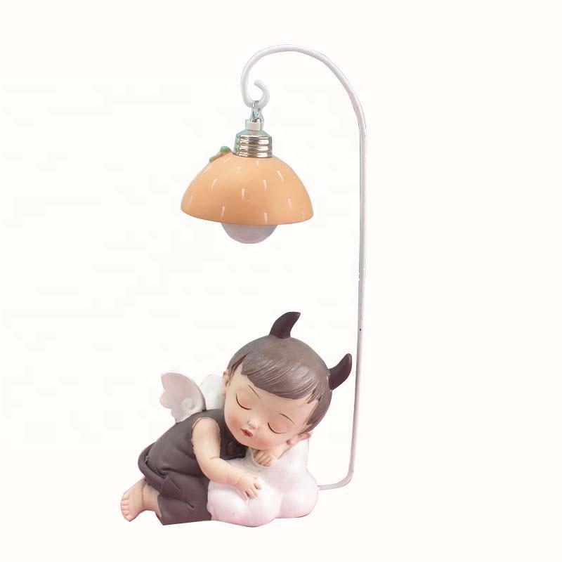 OEM Figurine Resin Angel Statue Kawaii Baby Night light Desk Lamp For kids