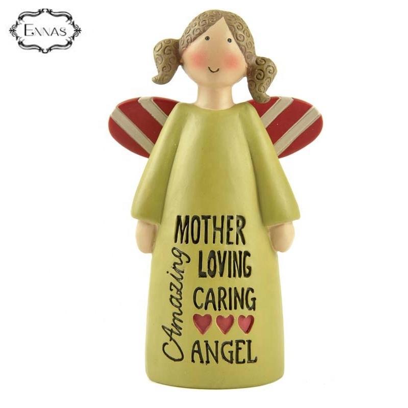 Factory handmade cute resin angel figurine for indoor decorations