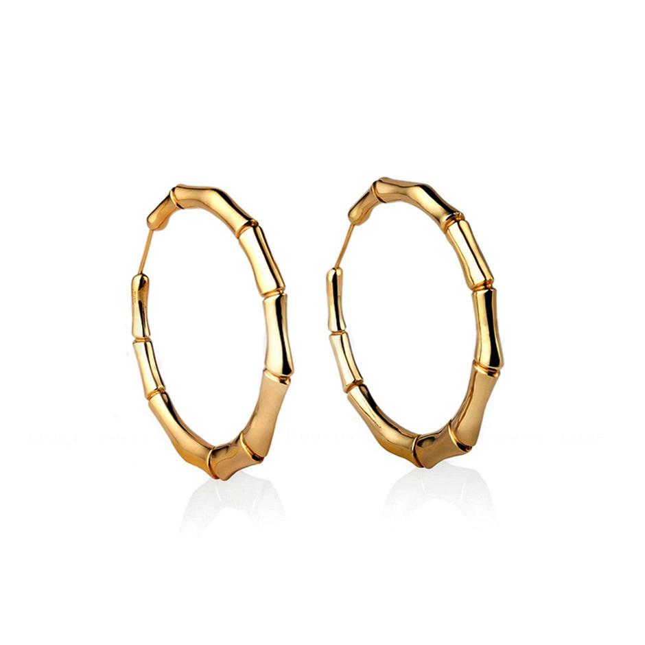 Lovely style bamboo design light weight gold earring