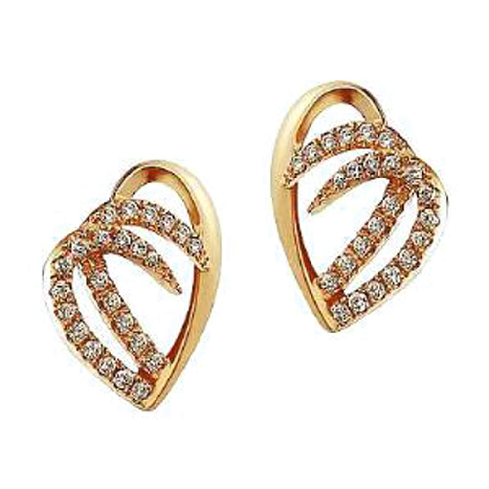 Fancy cz gold ear tops designs for women