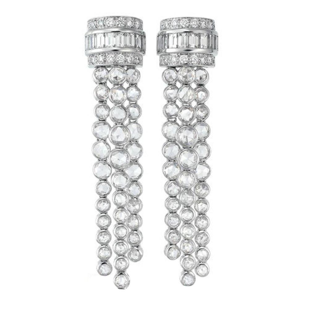 Silver cubic stone white gold chandelier earrings