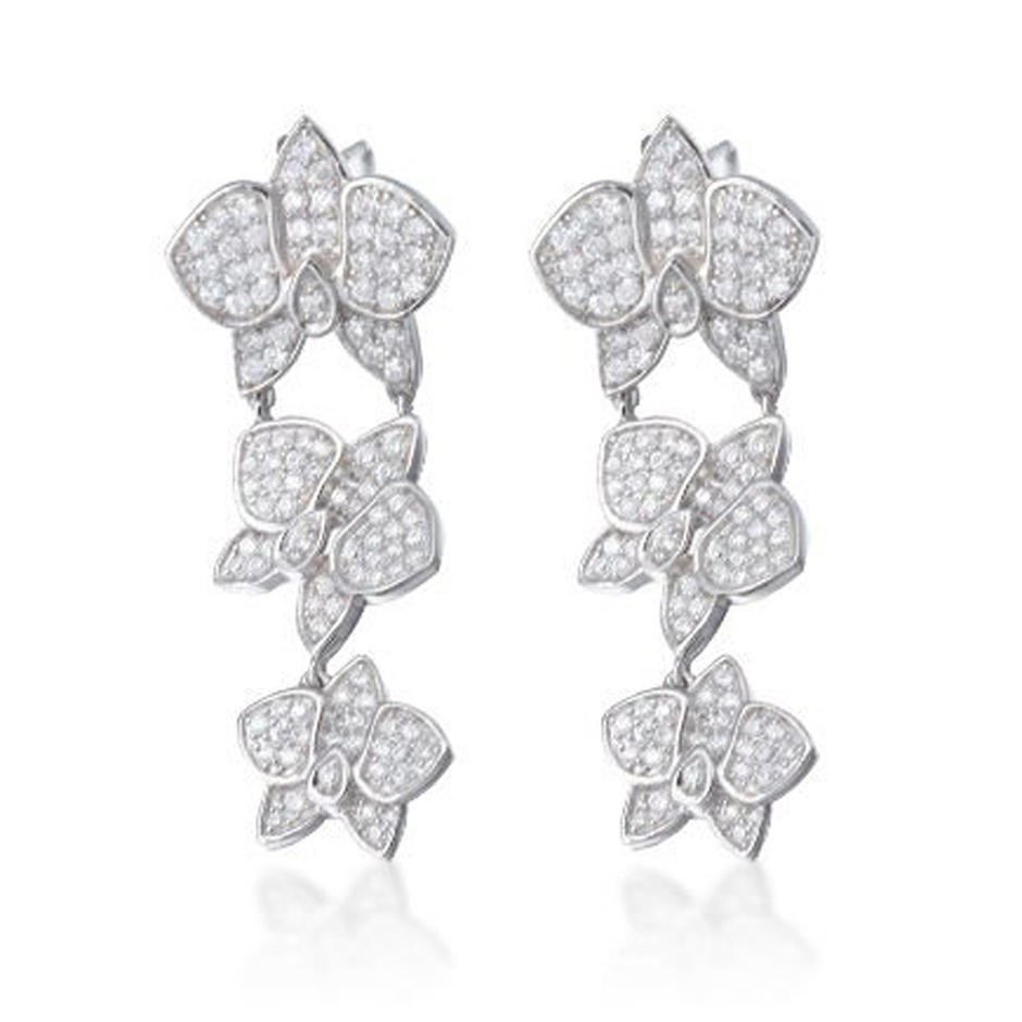 Real silver orchid flower design fancy earrings for party girls