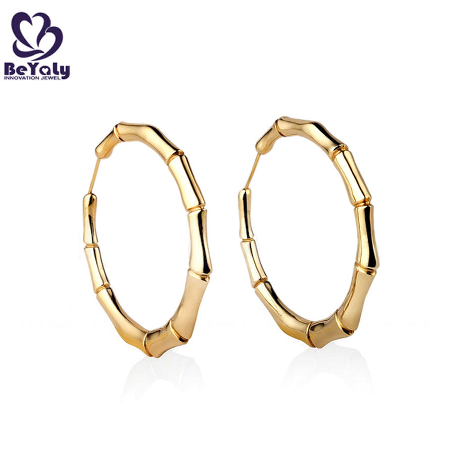 925 silver shiny bamboo shape gold casting clip earrings