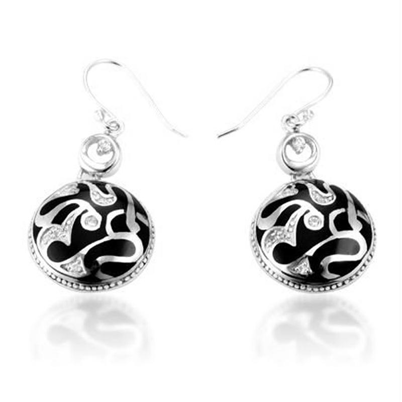 Ball Shape Black Enamel Silver Hook Charm Earring