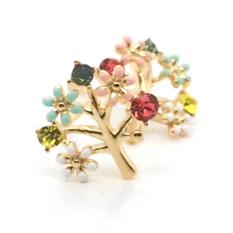 Cute Color Stone Tree Of Life Design Silver Earring Studs Gold Plated