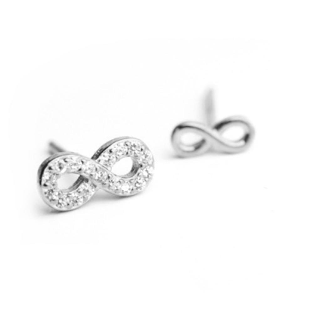 100% pure genuine Sterling Silver 925 Infinity Stud Earrings