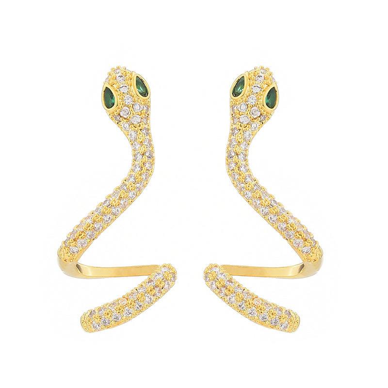 Silver Fashion Shiny Snake Design Male Earrings