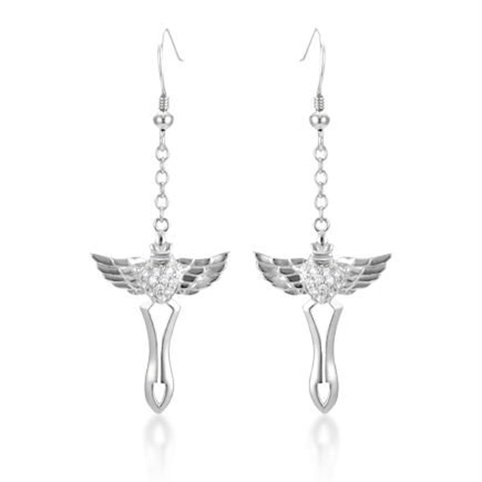 Fashion Bird Silver Custom Hanging Cross Earrings For Men