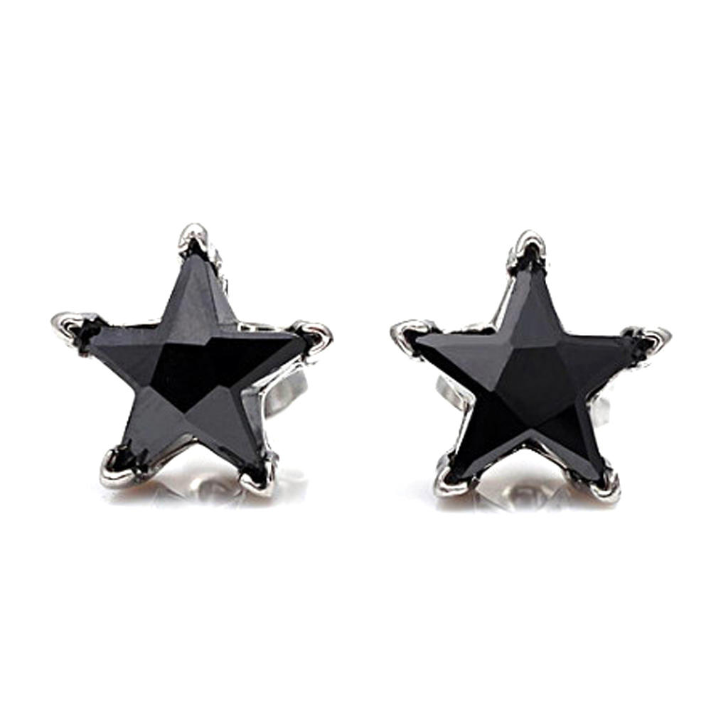 Custom star silver black cz magnetic earrings for boys