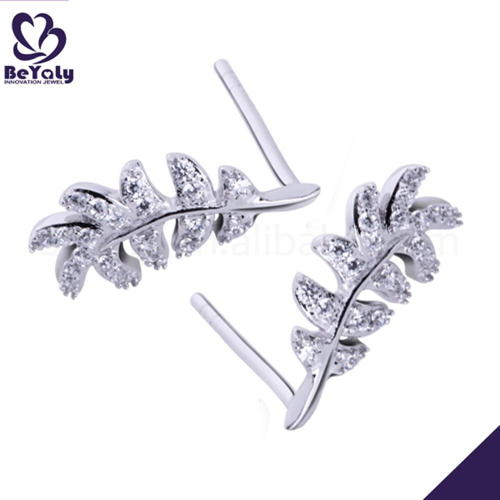 Brilliant women's leaf design cz silver piercing jewelry
