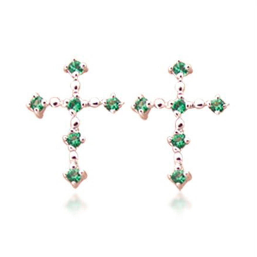 Brilliant green zircon silver earrings artifical jewellery