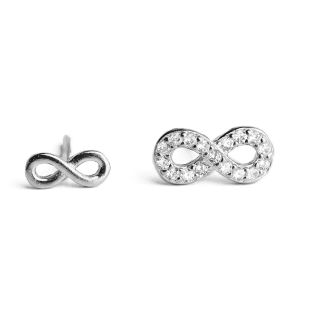 100% pure genuine Sterling Silver 925 Infinity Stud Earrings