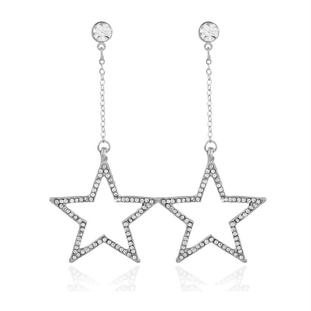 Brilliant lovely silver long hollow dangling star earrings
