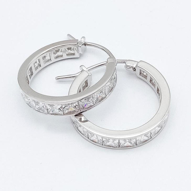 Dazzling Zircon 925 Sterling Silver Hoop Gold Huggie Earrings