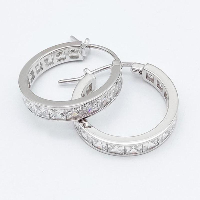Dazzling Zircon 925 Sterling Silver Hoop Gold Huggie Earrings