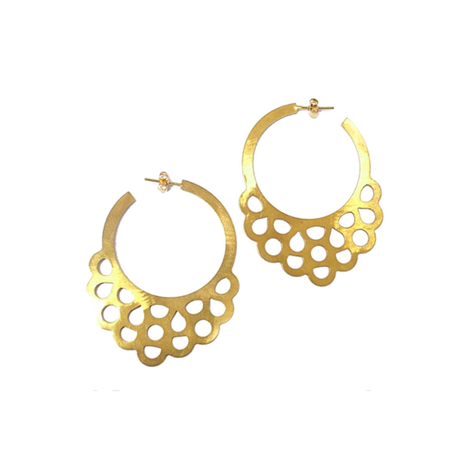 Female elegant round golden jaipur gemstone jewelry earring