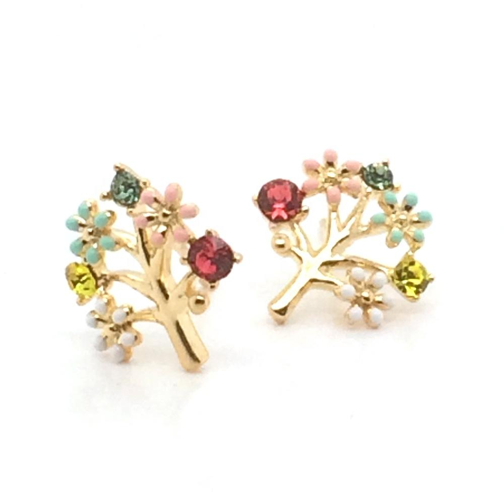 Tree Of Life Design Silver Jewellery Cute Earring Studs Gold Plated