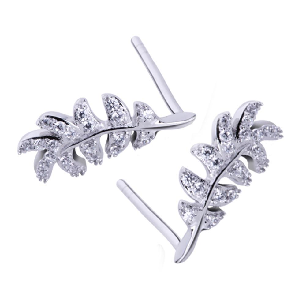 Rhodium Plating Feather Silver Cz Jewelry Earrings Women