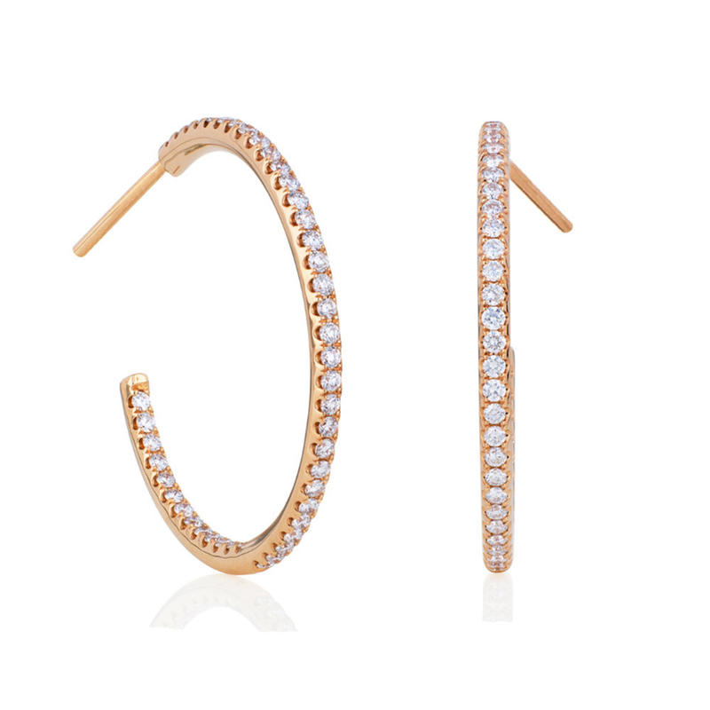 Rose gold plated custom cubic zircon double c earrings