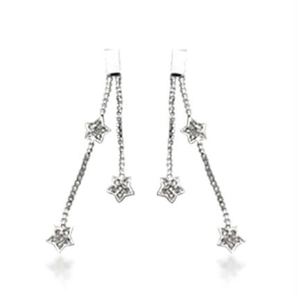 Brilliant lovely silver long hollow dangling star earrings