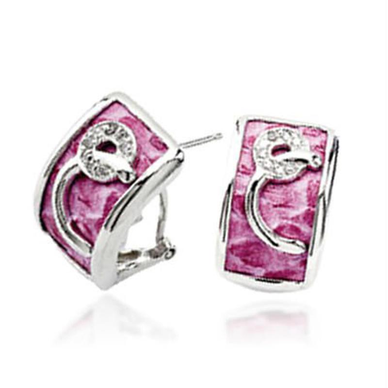 925 silver pink enamel happy back earring backs