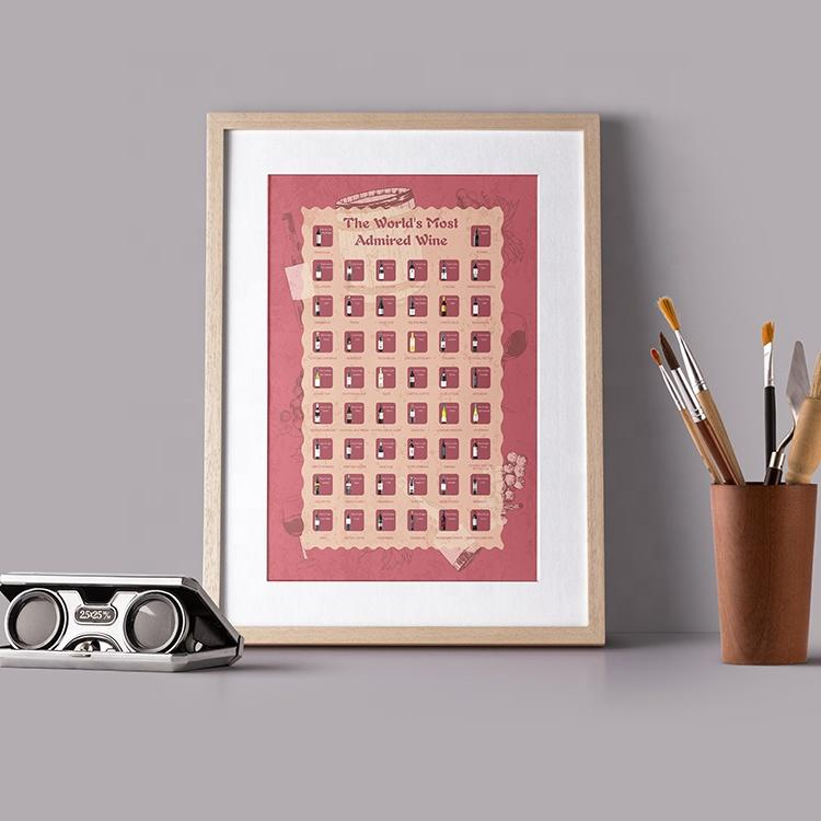 Famous Wine Blend Prints 100 Wines Scratch Off Poster