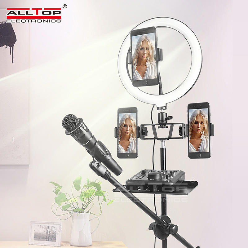 ALLTOP Hot sale dimmable three color ring light with stand selfie led camera light selfie ring light