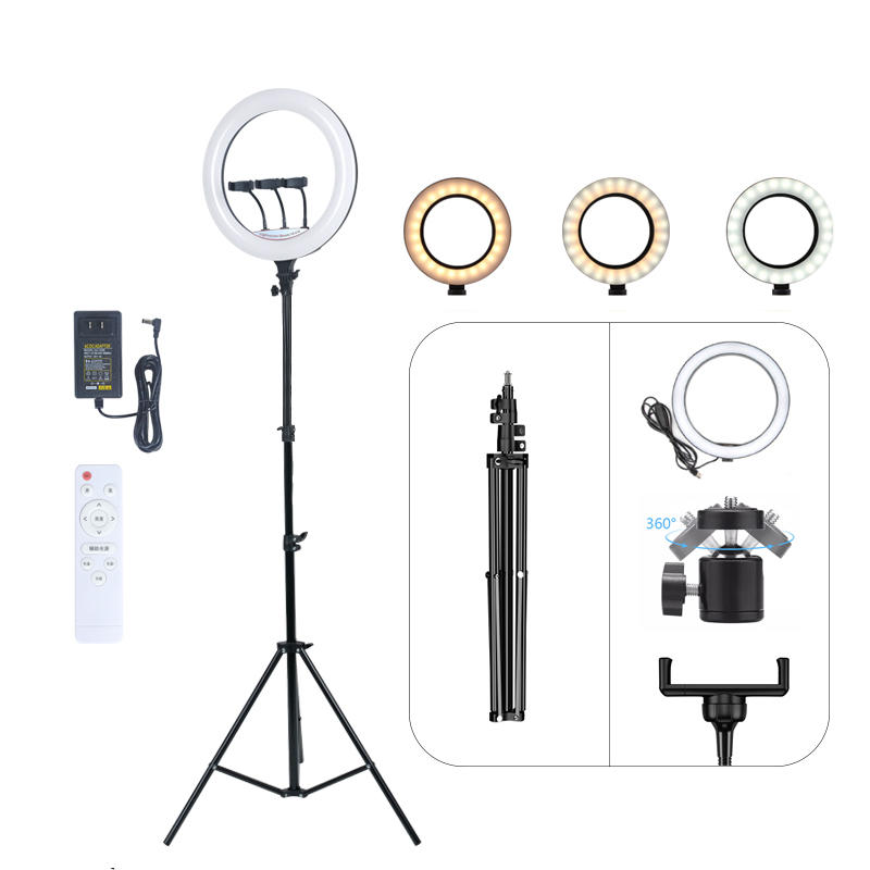ALLTOP Photographic live streaming lighting kit beauty lamp remote control 18Inch indoor selfie led ring light