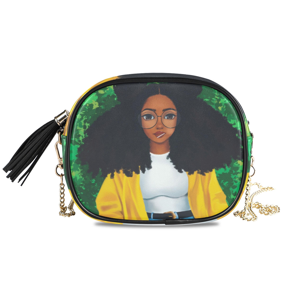 New Shoulder crossbody bag women bags 2020 PU Leather Chain bags Afro Girls black Women Messenger Bag Small Square purse Bags
