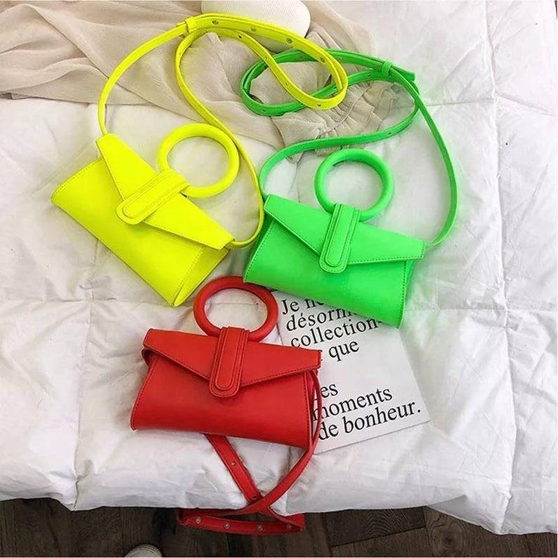 Hot Sale PU Fluorescent single shoulder bag for women small square purses and handbags ladies fashion design trendy luxury bags