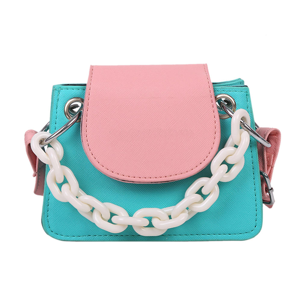 2020 new Youth Ladies Simple Versatile Bag Women Mini Cross body Bag Acrylic Chain Lady Hit Color PU Leather Shoulder Pouch
