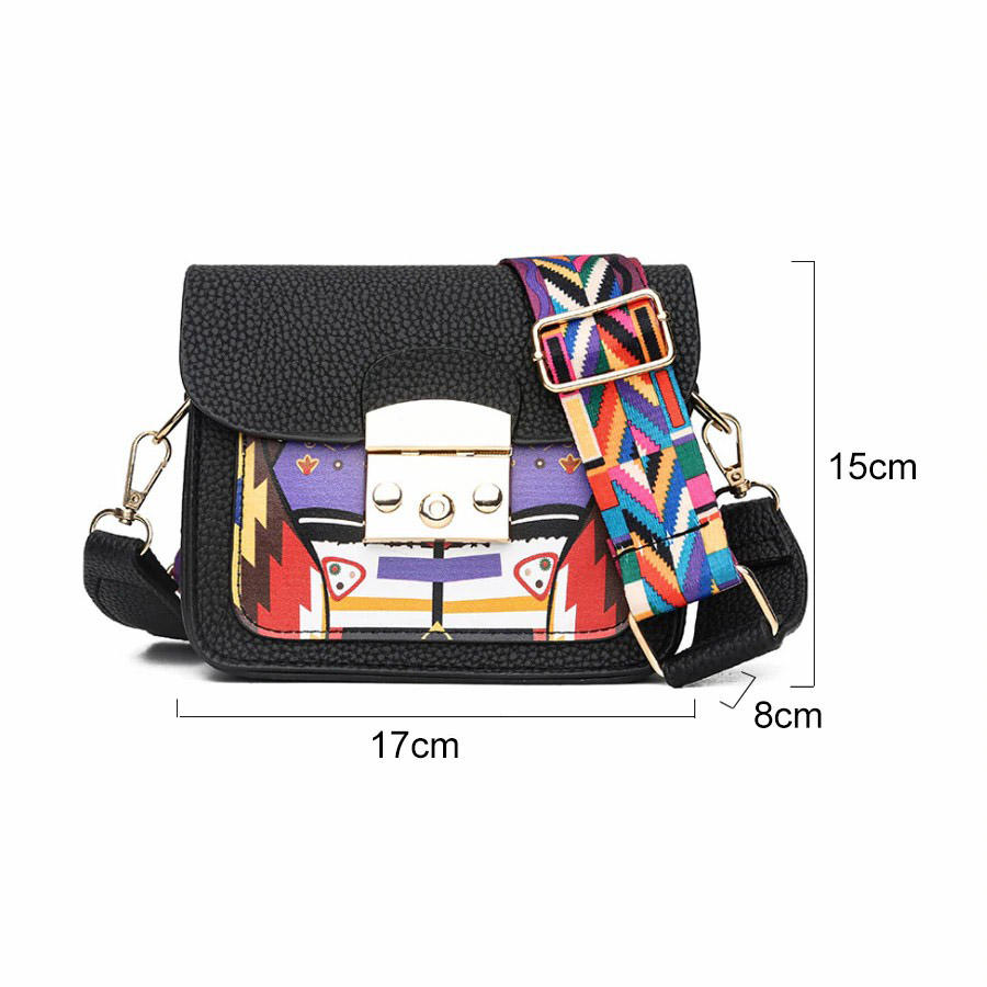 Panelled Pu Leather Women Shoulder Bag Colorful Wide Strap Mini Messenger Crossbody Bags Fashion All-Match Ladies Flap Handbag