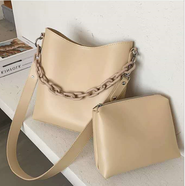 2020 Best Sell New Fashion Style Large Capacity Luxury Pure Color Leather Bucket Shape Metal Chain Woman Shoulder Bag Handbag