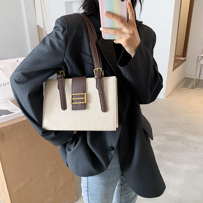 Stone Pattern Underarm Bag PU Leather Shoulder Bags for Women 2020 Fashion Belt Female Top-handle Bags Brand Hot Trending Bags