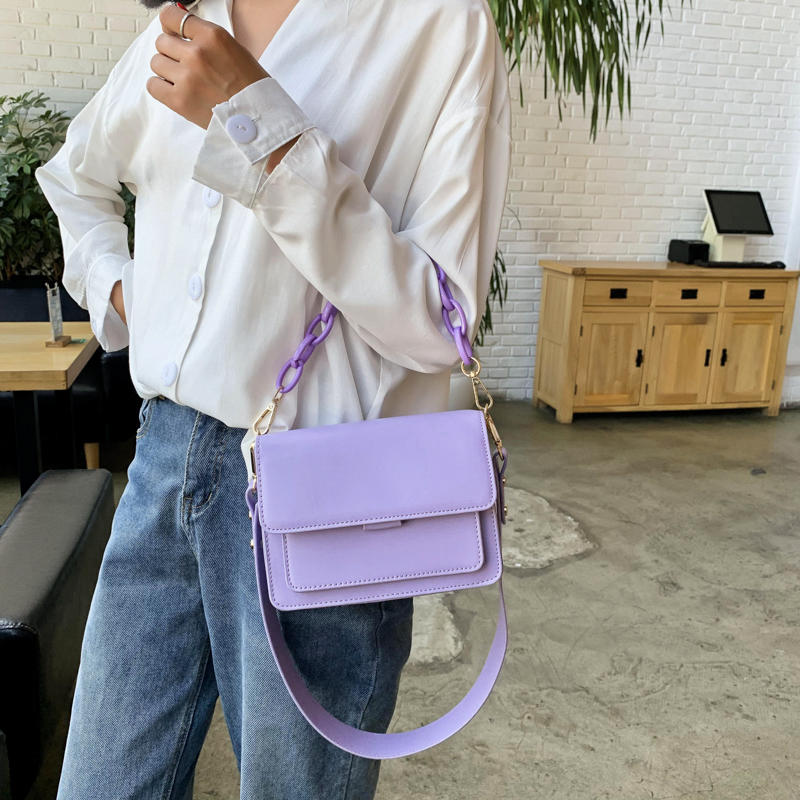 Chain Design New Mini PU Leather Flap Bags for Women 2020 Summer Girls Shoulder Handbag Female Fashion Cross Body Bag