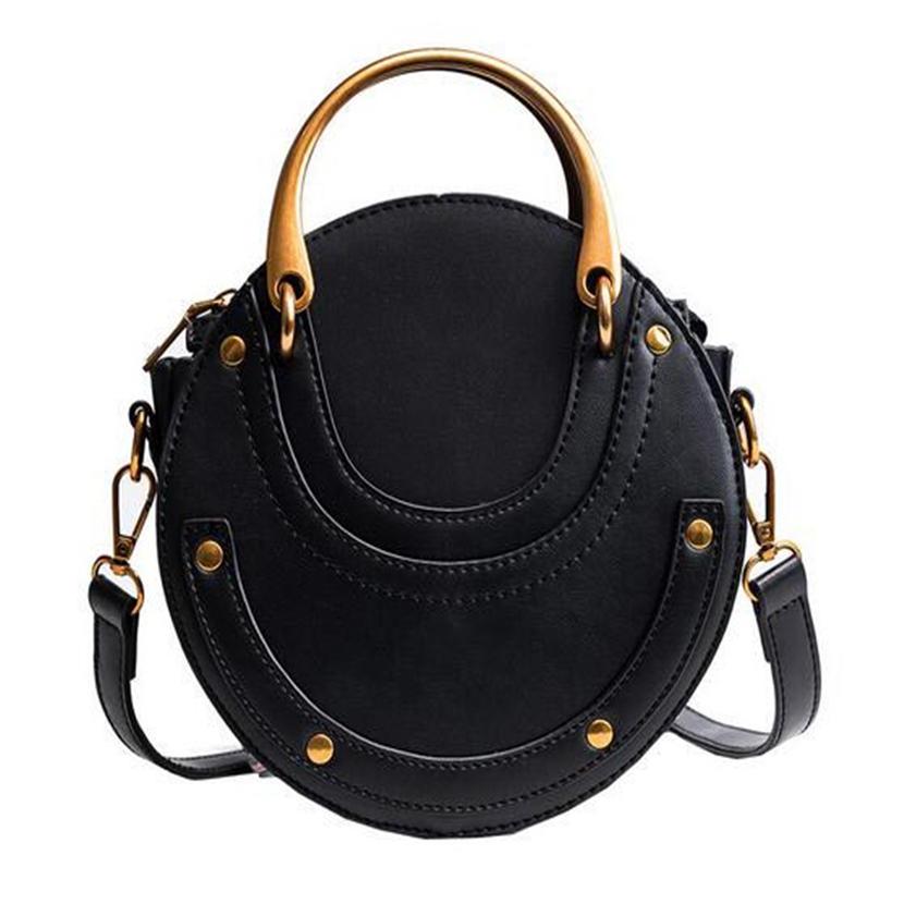 New Fashion Custom Round Calfskin Leather Retro Metal Ring Handbag single Shoulder Mini Women bag