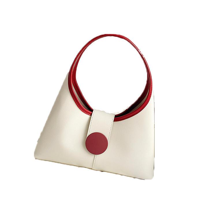 Women Shoulder Bags 2020 Retro Armpit Bag Chic Panelled Color Block PU Leather Handbag Fashion Designer Daily Travel Small Purse