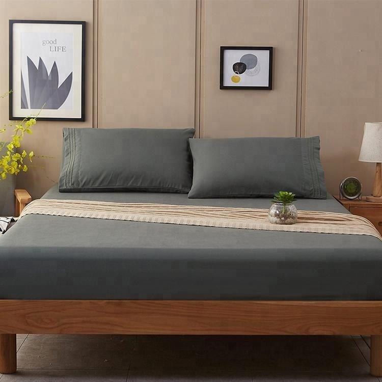 quilt gray microfiber fabric queen comforter bedding bed bedsheet set for hotel