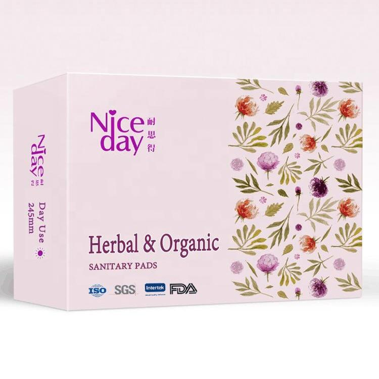 OEM organic cotton herbal sanitary pads in private labels